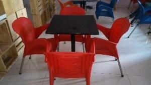 Thanh lý bàn ghế cafe nhựa đỏ 001