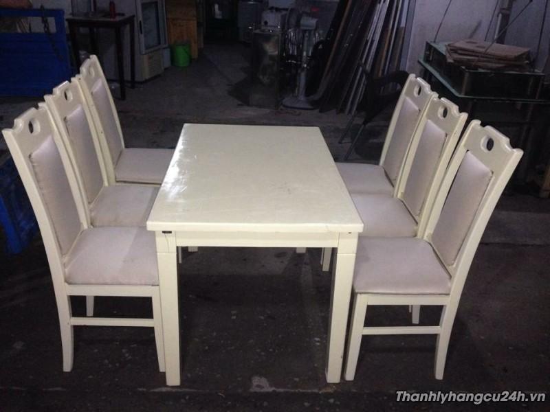 Thanh lý bộ bàn ghế nhà hàng kem trắng