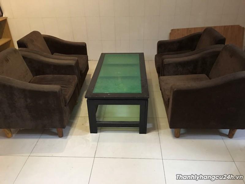 Thanh lý bàn ghế sofa gia đình màu nâu