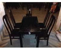 Bộ bàn ghế nhà hàng gỗ đen (4 ghế)
