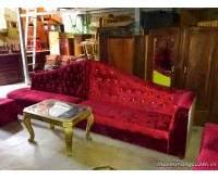 Thanh lý bàn ghế sofa nhung đỏ